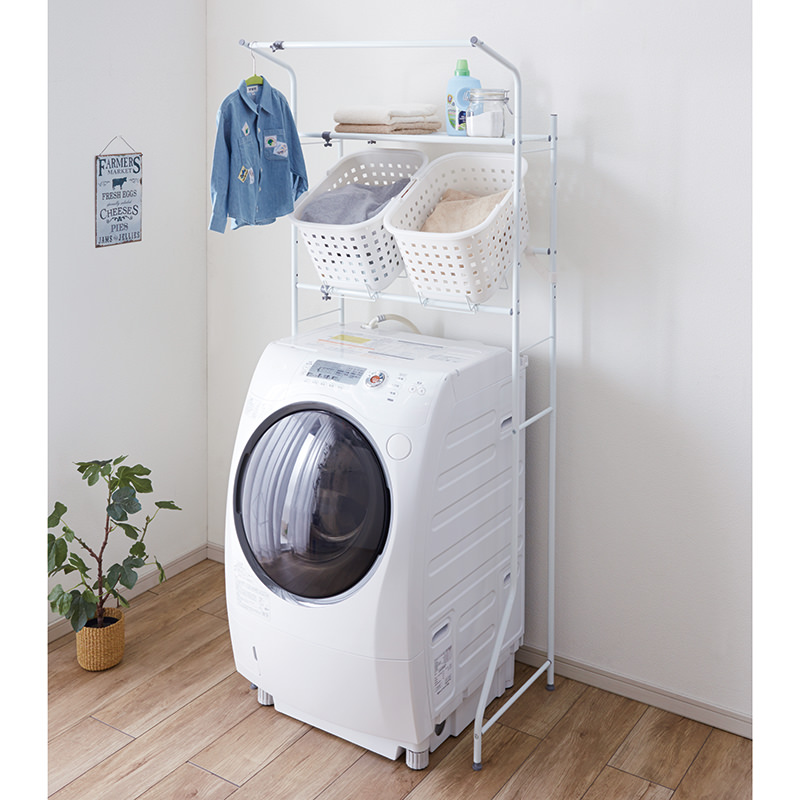 Laundry Shelf with Basket Stand