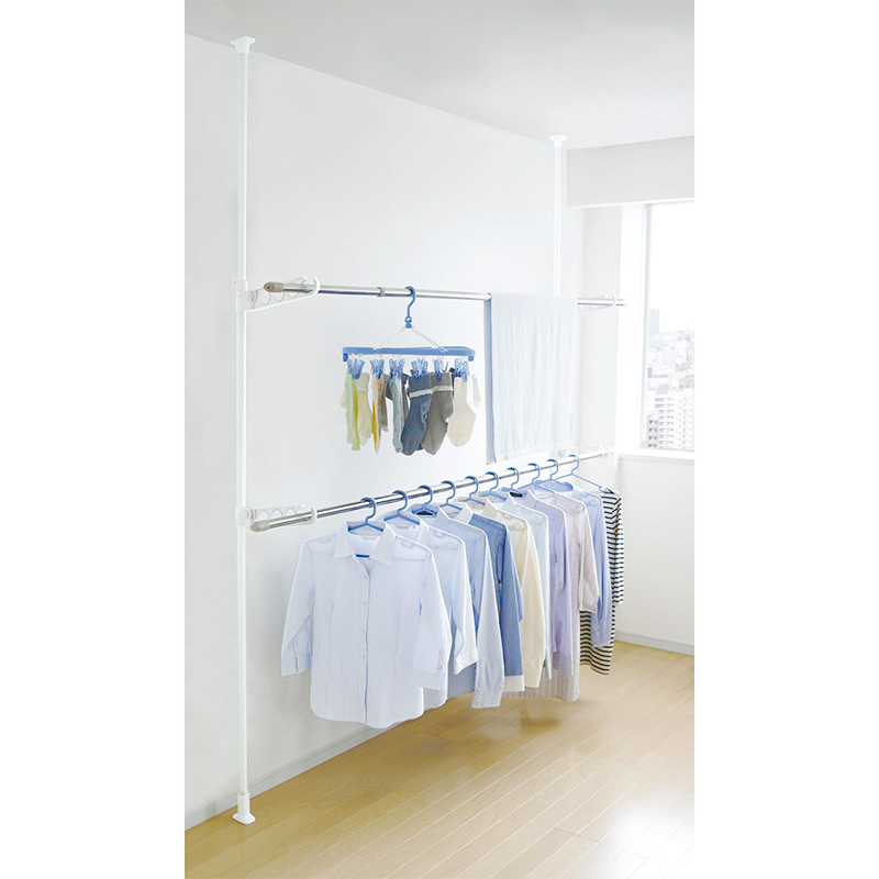 2 Tier Laundry Tension Pole